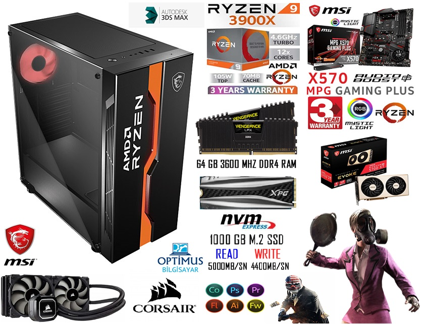 AMD RYZEN 9 3900X 64 GB RAM 5700XT MSİ RENDER GAMİNG PC
