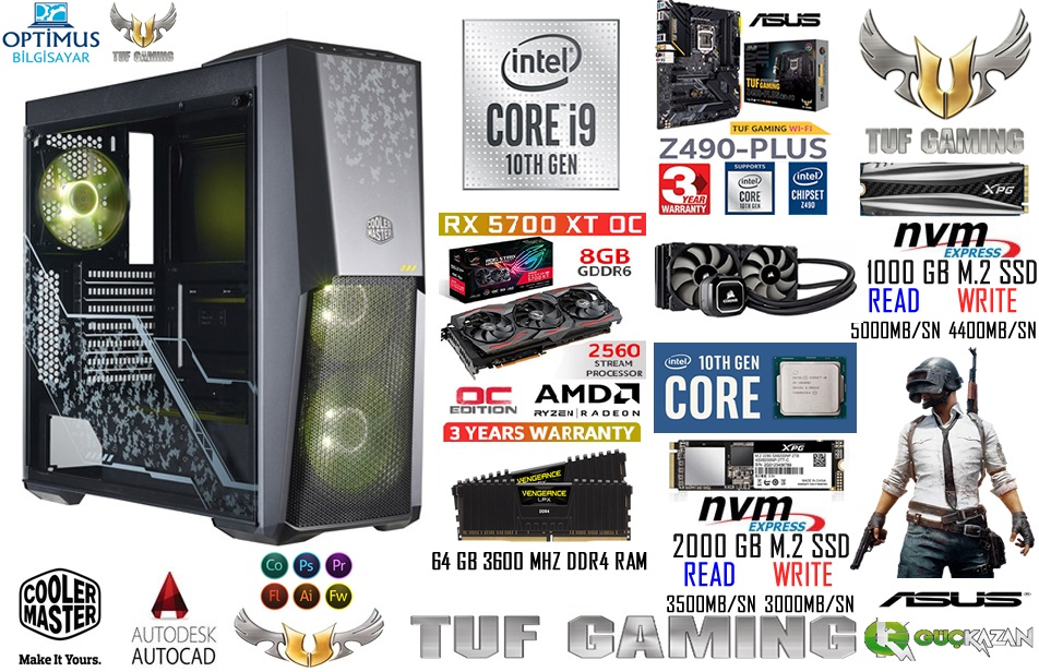 İNTEL İ9 10900K ASUS TUF SERİSİ GAMİNG RENDER PC