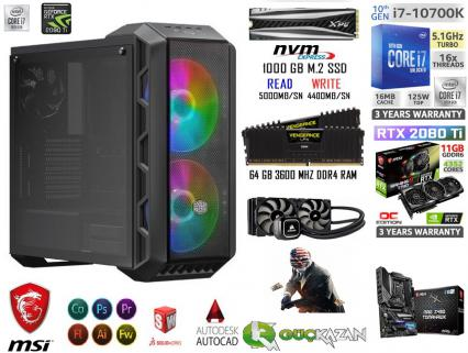 64 GB RAM 500 GB SAMSUNG 970 EVO+2 TB DİSK GTX 1050Tİ GAMİNG PC